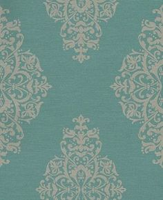Charm (331214) - Eijffinger Wallpapers - A beautiful symmetrical damask motif design with a distressed effect and horizontal textured lines. Taupe with hints of glitter on a deep jade green blue  background. Please request a sample for true colour and texture. Paste the wall.
