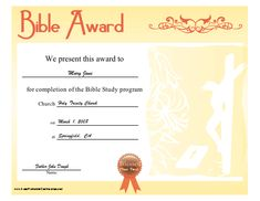 a bible award certificate with lilies and jesus on the cross in the background intended