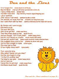 Daniel and the Lions poem with actions Preschool Bible Lessons, Preschool Songs, Bible Lessons For Kids, Bible Activities, Bible For Kids, Sunday School Songs, Sunday School Crafts, Children's Church Songs, Choir Songs