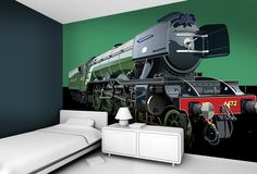 Like trains? How about a super size mural for a boys bedroom. High Quality Wallpapers, Trains, Wall Art, Bedroom, Boys, Baby Boys, Bedrooms, Senior Boys, Sons