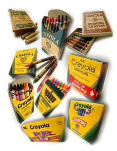 Crayola crayon boxes through the years!  Always loved the smell of a fresh new box of Crayola crayons!!!