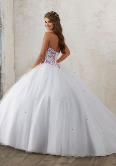 Contrasting Jeweled Beading on a Tulle Quinceañera Ball Gown | Valencia Style 60012 | Quinceanera Dresses by Morilee designed by Madeline Gardner. Classic Ballgown Features a Sweetheart Bodice Accented with Constrasting Jeweled Beading.