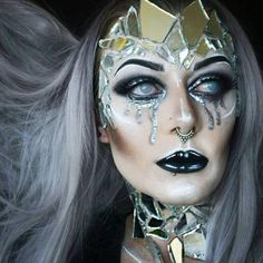 Beautifully broken. Shattered mirror avant garde halloween makeup Halloween Make Up, Halloween Face Makeup, Halloween Party, Beautifully Broken, Facial, Female Reference, Sfx Makeup, Creative Makeup, Colorful Makeup