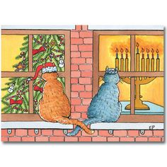 Curious Cats - Mixed Blessing Interfaith Holiday Cards www.$16.50 per pack of 10. MixedBlessing.com #Hanukkah #Chrismukkah #Christmas