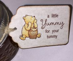 This listing is for Winnie The Pooh Baby Shower Favor Tags, Baby Christening Birthday Party A Little Yummy for Your Tummy Tags - Vintage Style Set of 20. These tags are created on quality parchment like card stock, printed and antique edged with sepia brown ink. The tags are adorned with a sweet classic image of Winnie The Pooh and a Winnie The Pooh quote. Each tag measures 1-3/4 X 2-3/4 and is pre-strung with natural twine for a rustic vintage look and is blank on the back for a s...