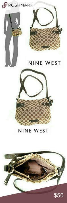 """VERY CUTE NINE WEST PATTERN CROSSBODY BAG NINE WEST PATTERN ED CROSSBODY BAG Pre-loaded  / Image for Similarity  *   57% Cotton 43% Polyester *   Large Interior Zippered Compartment  *   Interior  Zipper Pouch *   Tanzania & Brown w/Silver Hardware *   One Brown Strap 24"""" Drop *   Approx Meas; L 9 1/2"""" H 7""""  VERY CUTE! NO Rips or Stains Nine West Bags Crossbody Bags"""