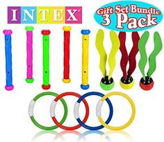 Intex Underwater SwimmingDiving Pool Toy Rings 4 Rings Diving Sticks 5 Sticks Aquatic Dive Balls 3 Balls Gift Set Bundle 3 Pack ** You can get additional details at the image link. Pool Toys For Kids, Water Games For Kids, Underwater Swimming, Swimming Pool Toys, Pool Sticks, Pool Basketball, Mermaid Pool, St Pete Beach, Swimming Diving