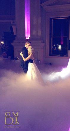 Dancing on a cloud effect at Customs House Brisbane | G&M DJs | Magnifique Weddings #gmdjs #magnifiqueweddings #weddinglighting #weddingdjbrisbane @gmdjs