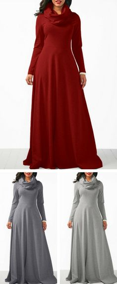 Long Sleeve Cowl Neck Maxi Dress, party dress, maxi dress for women, elegant dress, cowlneck dress, turtlneck dress, dresses,#Dress#maxidress#fashion#falldress, purchase at Rosewe.com.