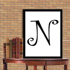 Letters N Print Letters N Digital Monogram Print Initial Print Digital Quote Print Digital Typography Art Wall Decor Poster 8X10 11x14 de la boutique sweetdownload sur Etsy