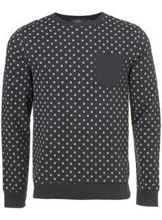 Washed Black Peace Sign Motif Sweatshirt