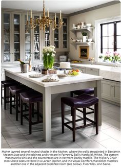 House Beautiful December-January 2018. Neutral colored kitchen whine details.