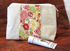 Coral Cosmetic Bag, Make Up Bag, Zipper Pouch, Cosmetic Case, Toiletry Bag by rosemontbags on Etsy