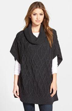 Caslon ® Cowl Neck Cable Knit Sweater Cape