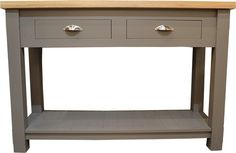 James Brindley Samuel Console Table in City Grey and alternative handles. Available at James Brindley, www.jamesbrindley.com.