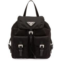Prada Vela Mini Crossbody Backpack Bag (2.985 BRL) ❤ liked on Polyvore featuring bags, backpacks, black, day pack backpack, prada crossbody, backpack crossbody, drawstring flap backpack and buckle flap backpack