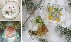Técnicas artesanales de decoupage sobre vidrio Craft Work, Tray, Table Decorations, Tableware, Handmade, Crafts, Vintage, Home Decor, Ideas