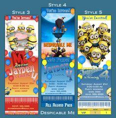 Personalized Despicable Me Ticket Style Birthday Invitation Invitations Custom