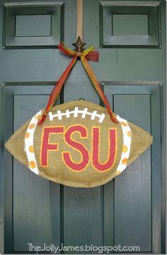 DIY burlap door hanger-football
