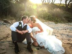 Weddings: #Bride wears a beaded original dress by Melanie Jayne