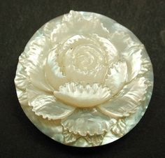 Antique Carved MOP Shell Button Dimensional Rose Flower Design