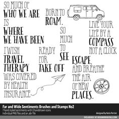 Far and Wide Sentiments Brushes and Stamps No. Katie Pertiet travel scrapbook page titles stamps Travel Scrapbook Pages, Scrapbook Titles, Diy Scrapbook, Sign Quotes, Sign Sayings, Photograph Album, Photoshop Brushes, Digital Scrapbooking, Scrapbooking Ideas