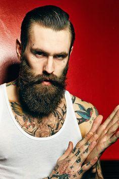 Ricki Hall looking good - very dark full thick beard and mustache undercut hair beards bearded man men mens' style tattoos tattooed