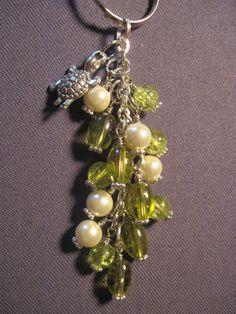 Green and Ivory Glass Beaded Purse Charm / Key Chain by FoxyFundanglesByCori, $10.00