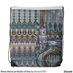 Kitten Matrix 50 Shades of Grey Drawstring Bag