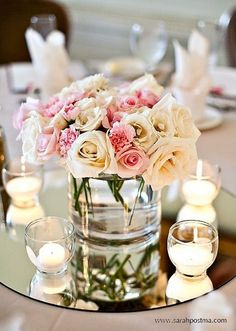 The beautiful, simple, and charming mason jar centerpiece option. Love the combination with the mirror plate and tealights.
