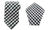 Mens Necktie Black White Gray 8.5 CM Necktie and Pocket Square.