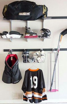 up for Hockey Season at Our House! Got a hockey player at home? Here is an awesome way to store their equipment and minimize odors!Got a hockey player at home? Here is an awesome way to store their equipment and minimize odors! Rink Hockey, Hockey Mom, Hockey Players, Hockey Girls, Hockey Stuff, Youth Hockey, Hockey Sayings, Baseball Kids, College Basketball