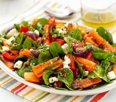 Roasted Carrot, Spinach & Feta Salad