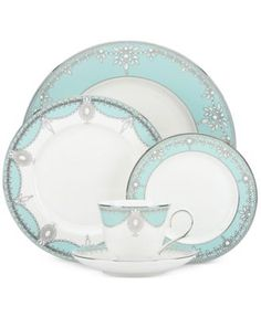 Marchesa by Lenox Empire Pearl Turquoise Bone China 5-Pc. Place Setting | macys.com