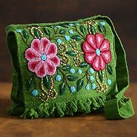 Aymara Flower shoulder bag inspired by the mail bags used by Inca chasquis (messengers). Via Novica