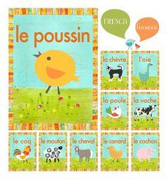 French farm animal flash cards