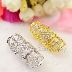 $5.99 5Pcs/set Heart Gemstone Rings Set Shining Rhinestone Decor Open Rings Tail Ring - BornPrettyStore.com