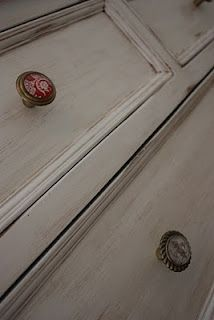 How to refinish furniture with a vintage feel. I love this idea for my yucky kitchen cabinets!