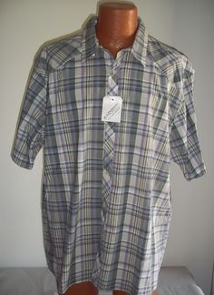 Mens Madison 2XL XXL Shirt NWT Button Down Wrangler Purple Green Beige Plaid #Madison #ButtonFront