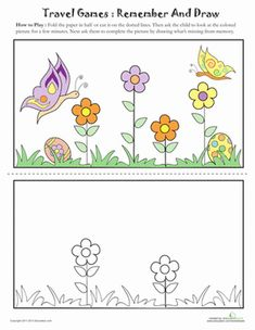 Second Grade Offline Games Worksheets: Drawing from Memory: Butterflies Color Activities, Preschool Activities, Offline Games, Drawing Games, Memory Games, Literacy, Worksheets, Kindergarten, How To Memorize Things