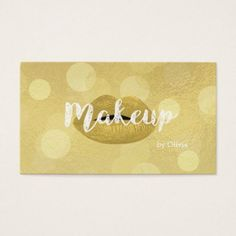 #makeupartist #businesscards - #Gold Fashion Lips Makeup Artist Business Cards