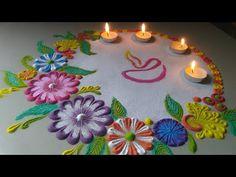 Very easy latest beautiful creative rangoli design for diwali By Bucketful Creation Rangoli Patterns, Rangoli Ideas, Rangoli Designs Diwali, Diwali Decorations, Flower Decorations, Diya Rangoli, Festival Rangoli, Mehndi Images, Beautiful Rangoli Designs