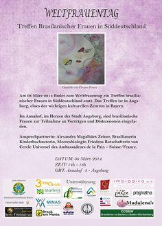 Cartaz com desenho de Clevane Pessoa (técnica mista-pastel + nankim) para o evento Dia Internacional da Mulher, em Augsburg, coordenação de Alexandra Magalhães Zeiner.Em março de 2014,