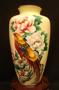 """Japanese Inaba Silver Wire Cloisonné Vase 12"""" Height"""