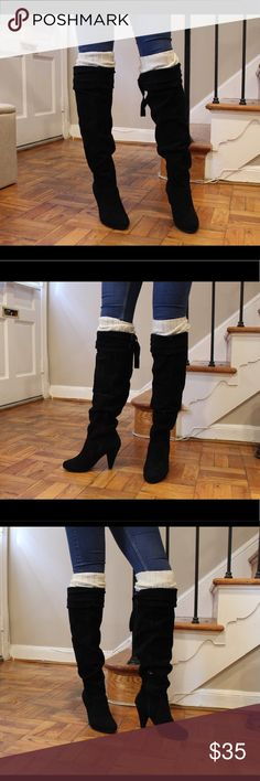 Genuine suede over the knee boots Genuine suede. I have to wear leg warmers with them bc they are too wide on my calves. Also they say size 7 but fit more like a 7.5. But I'm a 7 and just wore them with thick socks. Shoes Over the Knee Boots