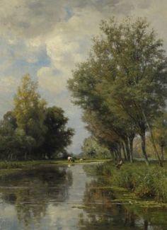Anglers in a Polderlandscape by Jan Willem van Borselen