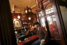 Princess Louise is a traditional British pub, with beautiful decorated wood walls and booths.