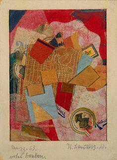 Kurt Schwitters, Merzz. 53. Red Bonbon. (Merzz. 53. rotes bonbon.), 19120, Paper collage, thread, and glue on cardboard, 16.1 x 11.9 cm