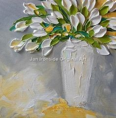 Oil Painting White Tulips Impasto Painting by IronsideImpastos