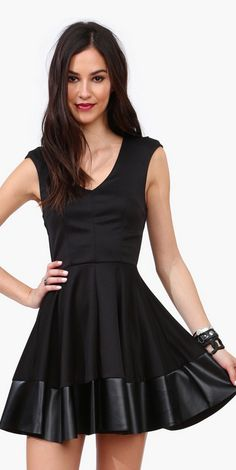 LBD with faux leather trim.